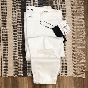 DL 1961 • White Distressed Skinny Jeans